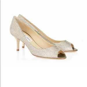 Jimmy Choo Isabel Glitter Peep Toe Pumps Sz 38.5